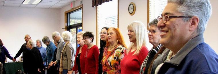 Abundant Life Center gathering in circle